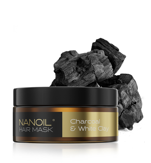 Nanoil - charcoal & white clay Hair Mask